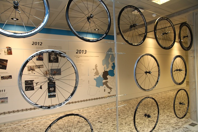 Also on display inside Shimano's European headquarters are the brand's various road and mountain bike wheels, including full-carbon tubulars and various ...