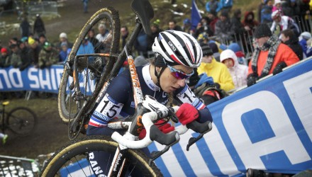 Pauline Ferrand-Prevot tackles a run-up section of the 2015 Cyclocross Worlds course.