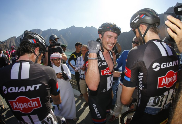 John Degenkolb celebrates his Stage 3 win with his Giant-Alpecin teammates.