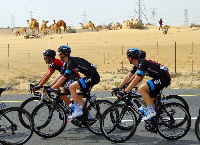 Team Sky riders take in the sights at the 2015 Dubai Tour.