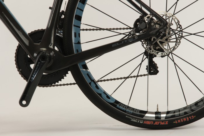 Asymmetrical chain stays help balance out pedaling and braking forces in the rear triangle.