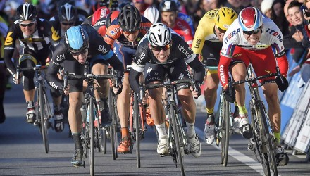 "The ""Manx Missile"" Mark Cavendish won the group sprint to finish on the top spot of the podium."