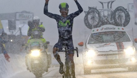 On Stage 5's summit finish, the clouds opened up an unleashed a torrent of snow and treacherous conditions. But it was Movistar's Nairo Quintana who proved the strongest, and rode away from the field to finish well ahead of his GC rivals, taking the overall leader's jersey in the process.