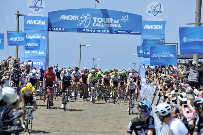 Stage 4 of the Amgen Tour of California started in the city of Pismo Beach, with riders rolling out of the town's famous pier.