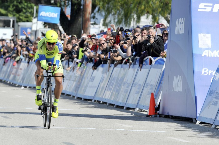 Tinkoff-Saxo's Peter Sagan enters the finishing chute at the Stage 6 Time Trial of the Amgen Tour of California.