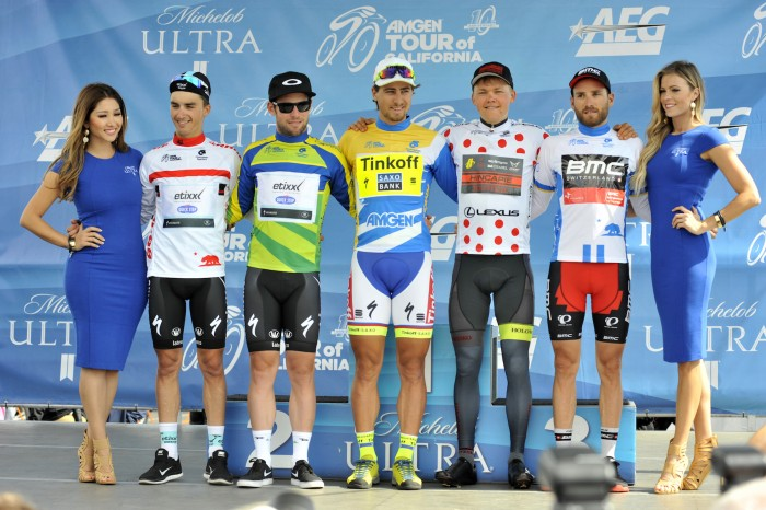 As the Amgen Tour of California heads into the final two days of racing on Saturday and Sunday, here's how the jerseys line up (left to right): Julian Alaphilippe (Best Young Rider); Mark Cavendish (points classification); Peter Sagan (overall lead); Toms Skujins (King of the Mountains); Danilo Wyss (Most Courageous Rider).