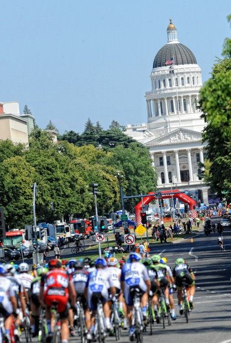 The peloton ramped up the speed in anticipation of the sprint finish in the city of Sacramento.