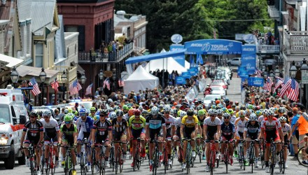 The peloton rolls out of the Stage 2 start town of Nevada City.