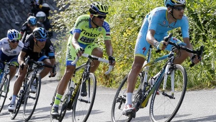 GC hopefuls Fabio Aru (Astana), Alberto Contador (Tinkoff-Saxo) and Richie Porte (Sky) all finished in the same time on Stage 4.
