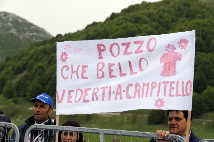 Fans made up a sign dedicated to Italian rider Domenico Pozzovivo, who suffered a nasty crash early on in the Giro and was forced to withdraw.