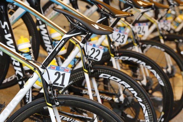 The Astana team's bikes were prepped and put on display at the Stage 11 start.