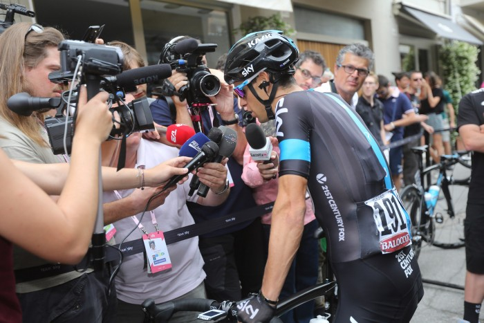 After his controversial penalty for taking an illegal wheel change during yesterday's stage, Sky's Richie Porte was very much in demand for interviews before Stage 11 got underway.
