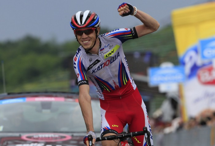 Katusha's Ilnur Zakarin was all smiles as he took an impressive solo victory on Stage 11.