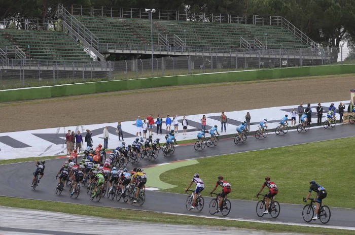Stage 11 ended with the pro riders circling the famous Imola motor sports racetrack.