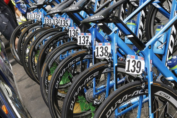 Orica-GreenEdge had their bikes on display before the start of Stage 12.
