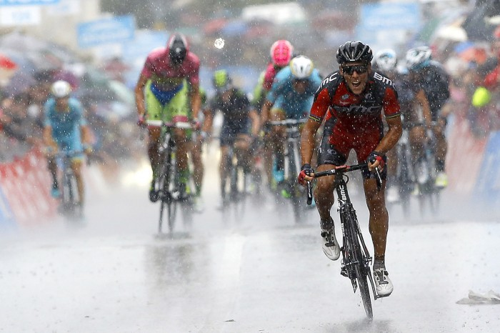 The final kilometer of Stage 12 featured a steep climb to the finish line, and it was BMC's Philippe Gilbert who proved strongest on the day.