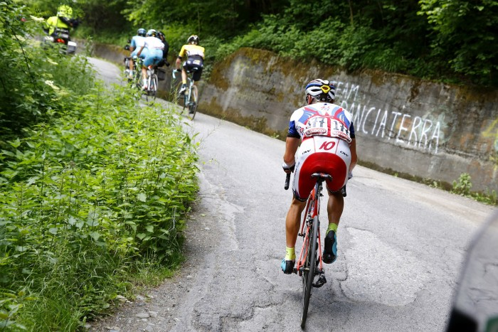 Katusha's Yury Trofimov has had a terrific Giro d'Italia thus far, but couldn't keep up with the lead group up the Mortirolo climb.