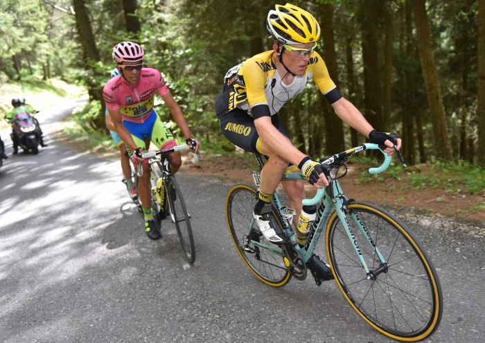 Lotto-NL Jumbo's Steven Kruijswijk put in a stellar performance on Stage 16, finishing second on the day and capturing the blue jersey as King of the Mountains for his troubles.