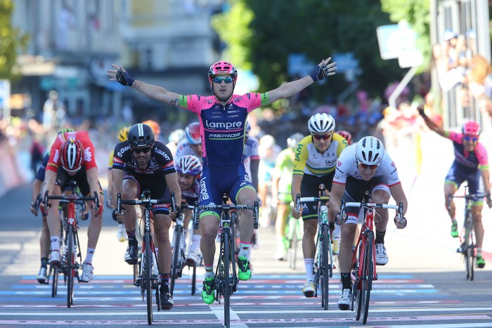 Stage 17 ultimately came down to a sprint finish, which was won by Lampre-Merida's Sacha Modolo, his second stage victory of this year's Giro.