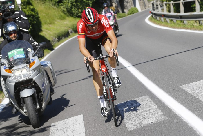 Lotto-Soudal's Adam Hansen attacked the field but was caught well before the finish line.