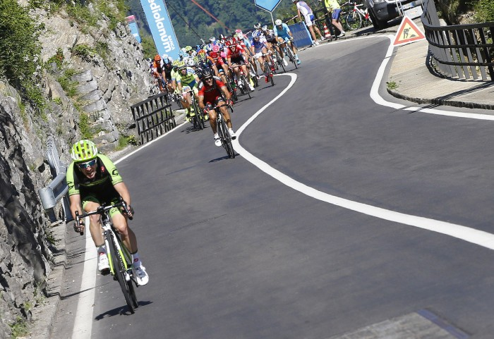 Several attacks came late in the stage, including Tom-Jelte Slagter of the Cannondale-Garmin team.