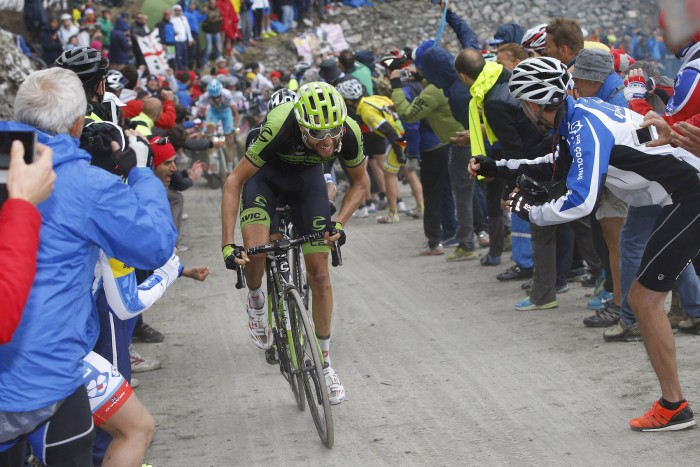 Cannondale-Garmin's Ryder Hesjedal attacks up the Colle delle Finestre.