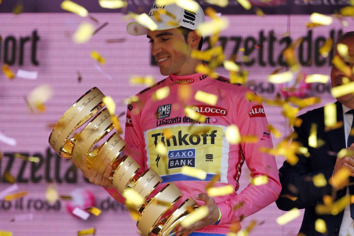 Stage 21 was largely ceremonial for Alberto Contador and his Tinkoff-Saxo team as the Spaniard had already locked up the overall win. Now Contador will set his sights on the Tour de France in July.