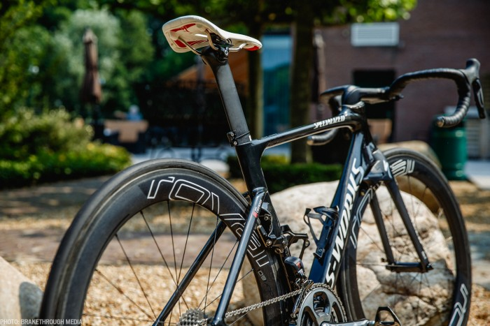 The proprietary septets on the new Venge is incredibly wide and flat for reducing aero drag. Photo: Iri Greco / BrakeThrough Media