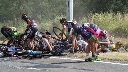The big story of Stage 3 was a series of crashes that took down dozens of riders. Several were forced to pull out of the race.