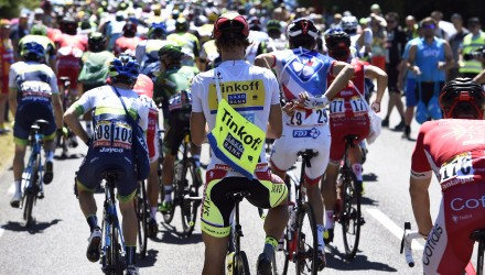 Tinkoff-Saxo's Peter Sagan takes a feed on Stage 7.