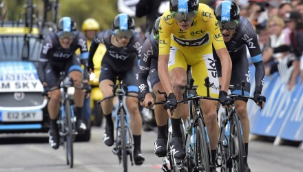Team Sky was the last squad to race the team time trial. They ended up in second place overall, only 1 second behind BMC. But Sky's leader Chris Froome retained the leader's yellow jersey.
