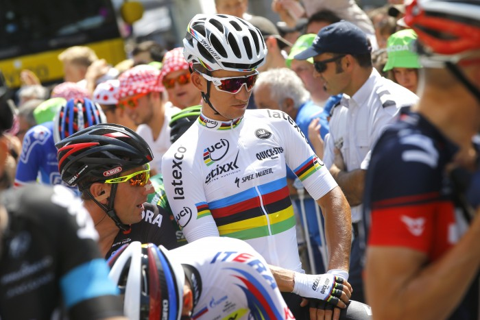 World Champion Michal Kwiatkowski prepares to roll out on Stage 10 of the Tour de France.