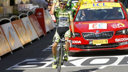 Tinkoff-Saxo's Rafal Majka takes the victory on Stage 11.