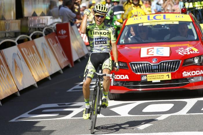 Tinkoff-Saxo's Rafal Majka takes the victory on Stage 11.