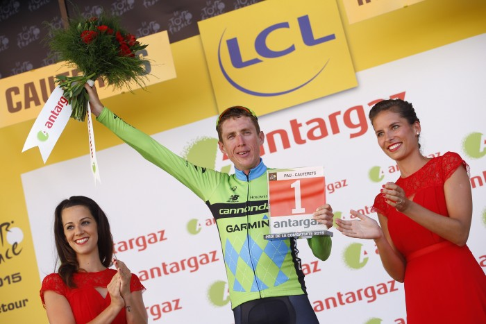 Cannondale-Garmin's Dan Martin earned second place on the day, and won the Most Aggressive Rider award for his efforts.