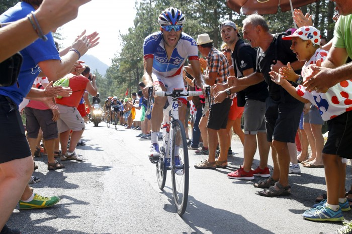 FDJ's Thibaut Pinot was an early favorite to take the day's win, and he came close, but couldn't quite grab the victory.