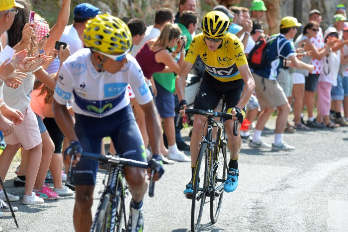 Nairo Quintana attacked Chris Froome several times on the day's final climb, and even put a bit of distance on the overall leader before being reeled back in.