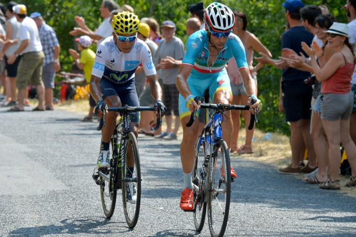 Vincenzo Nibali attacked the peloton with Nairo Quintana, but the Italian wasn't strong enough to make anything stick.