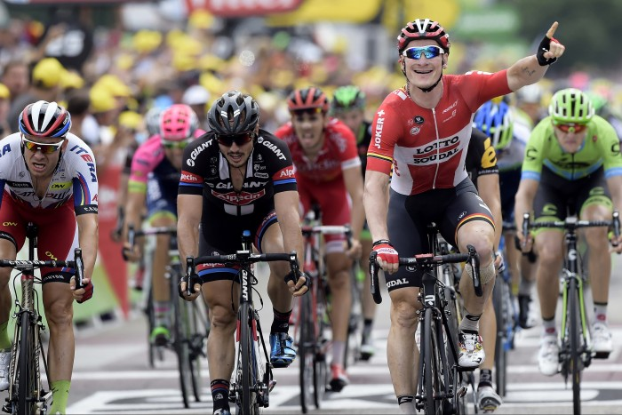 Ande Greipel of the Lotto-Soudal squad emerged the strongest on the day, taking his third stage victory of this year's Tour de France.