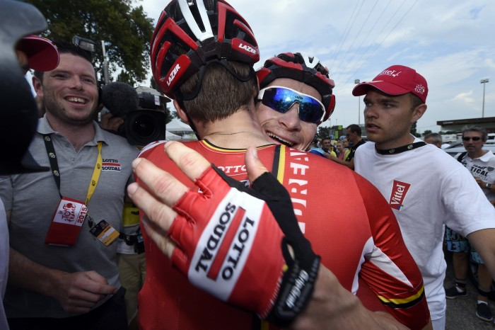 Andre Greipel celebrates his Stage 15 victory with his team.