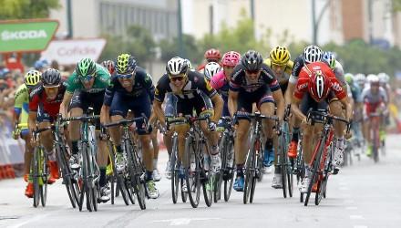 Vuelta Spagna 2015 - 70a Edizione - 10a tappa Valencia - Castellon 146.6 km - 31/08/2015 - Kristian Sbaragli (MTN - Qhubeka) - John Degenkolb (Giant - Alpecin) - foto Luca Bettini/BettiniPhoto©2015