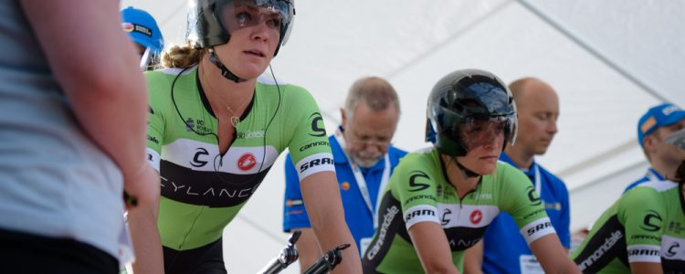Alison Tetrick (Cylance Pro Cycling) eyes up the early metres of the 42,5 km team time trial of the UCI Women's World Tour's 2016 Crescent Vårgårda Team Time Trial on August 19, 2016 in Vårgårda, Sweden. (Photo by Sean Robinson/Velofocus)