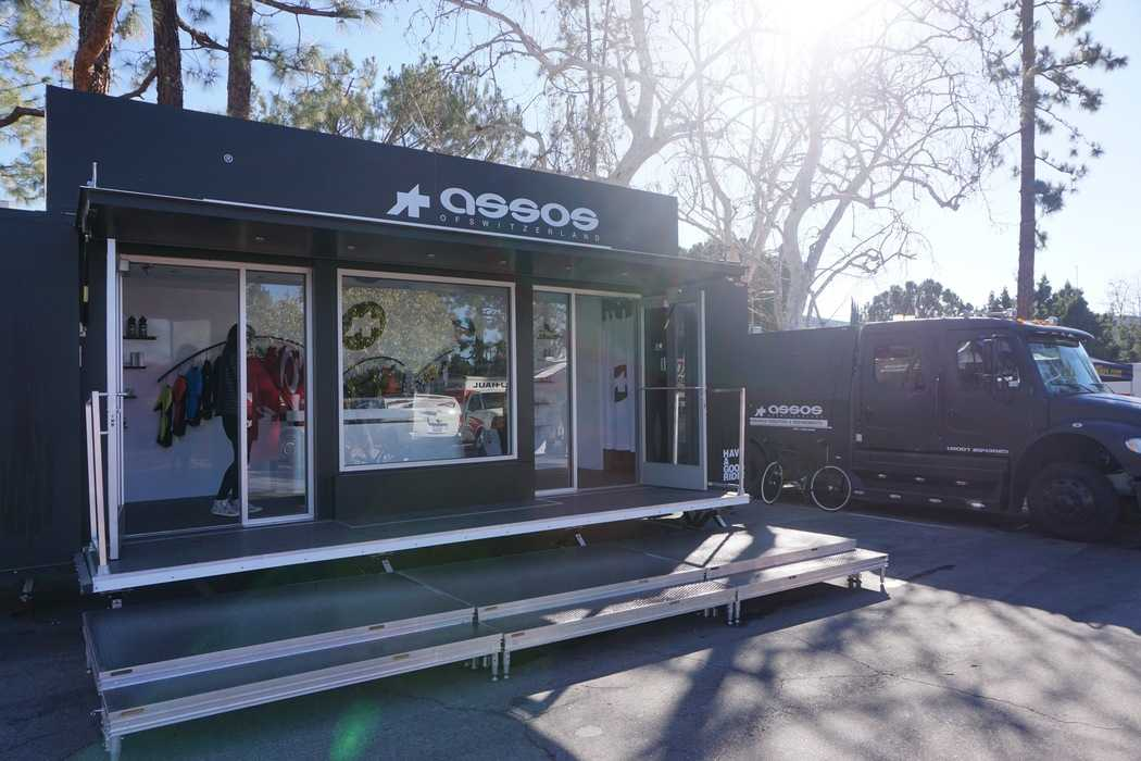 Assos of Switzerland had a nice presence in the outdoor expo as they brought out their Assos Mobile set up.