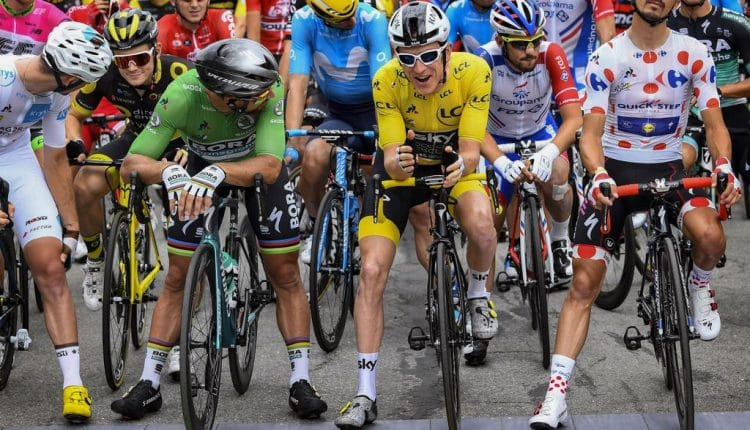 Tour de France 2018 Peter Sagan (SVK - Bora - Hansgrohe) - Geraint Thomas  (GBR - Team Sky) - Julian Alaphilippe (FRA - QuickStep - Floors) Pierre  Latour ... f75bde3d0